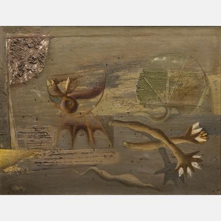 ZDENEK SKLENAR, (CZECH, 1910-1986) - UNTITLED, 1946   Zdenek Sklenar, (Czech, 1910-1986) - Untitled, 1946, oil on linen, Signed lower left and dated '46.   Estimate: $20,000 - $40,000