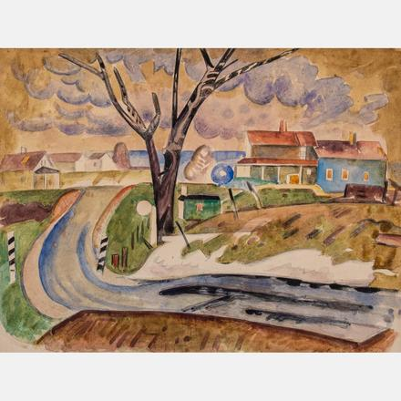 WILLIAM SOMMER, (1867-1949) - LANDSCAPE WITH HOUSES   William Sommer, (1867-1949) - Landscape with Houses, Framed dimensions: h: 17 1/8 x w: 19 5/8 in.   Estimate: $3,000 - $5,000