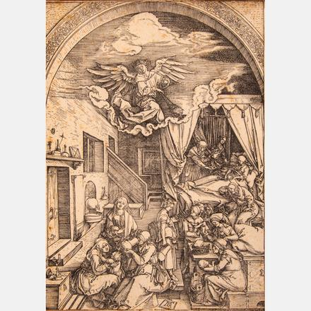 ALBRECHT DÜRER, (GERMAN, 1471-1528) - THE BIRTH OF MARY, CA. 1503   Albrecht Dürer, (German, 1471-1528) - The Birth of Mary, ca. 1503, Sheet 5 of the series: 'The Life of Mary'.   Estimate: $1,000 - $2,000     View Lot >
