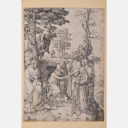 LUCAS VAN LEYDEN, (DUTCH, 1494-1533) - THE PAISING OF LAZARUS, CA. 1508   Lucas van Leyden, (Dutch, 1494-1533) - The Paising of Lazarus, ca. 1508.   Estimate: $800 - $1,200