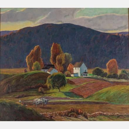 GEORGE G. ADOMEIT - LANDSCAPE WITH HOUSE   George G. Adomeit, (American/German, 1879-1967) - Landscape with House.   Estimate: $2,000 - $4,000
