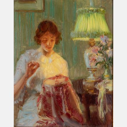 EDWARD DUFNER, (AMERICAN, 1871-1957) - MENDING BY THE LIGHT   Edward Dufner, (American, 1871-1957) - Mending by the Light   Estimate: $2,000 - $4,000
