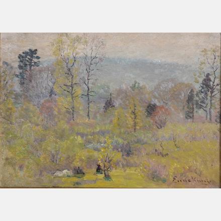 JOHN JOSEPH ENNEKING, (AMERICAN, 1841-1916) - SPRING HAZE   John Joseph Enneking, (American, 1841-1916) - Spring Haze, oil on board.   Estimate: $1,000 - $2,000