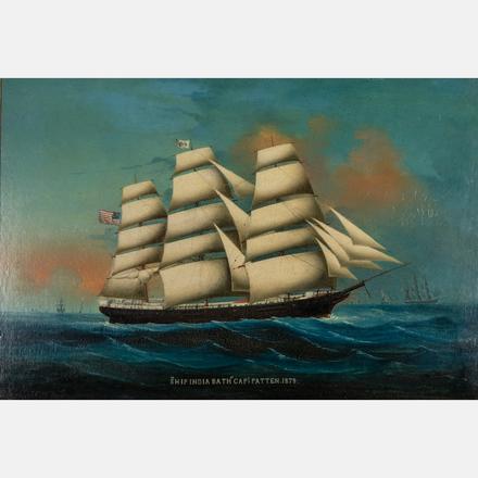 ARTIST UNKNOWN, (20TH CENTURY) - SHIP INDIA BATH CAPTAIN PATTEN, 1878   Artist Unknown, (20th Century) - Ship India Bath Captain Patten, 1878, oil on board.   Estimate: $1,500 - $2,500     View Lot >