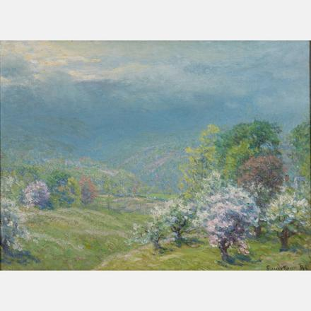 JOHN JOSEPH ENNEKING, (AMERICAN, 1841-1916) - BLOSSOMING TREES, 1998   John Joseph Enneking, (American, 1841-1916), oil on canvas.   Estimate: $1,000 - $2,000