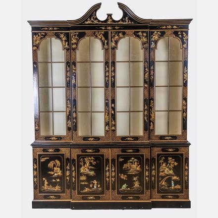 REGENCY STYLE CHINOISERIE LACQUERED BREAKFRONT   A Regency Style Chinoiserie Lacquered Breakfront, 20th Century   Estimate: $800 - $1,200
