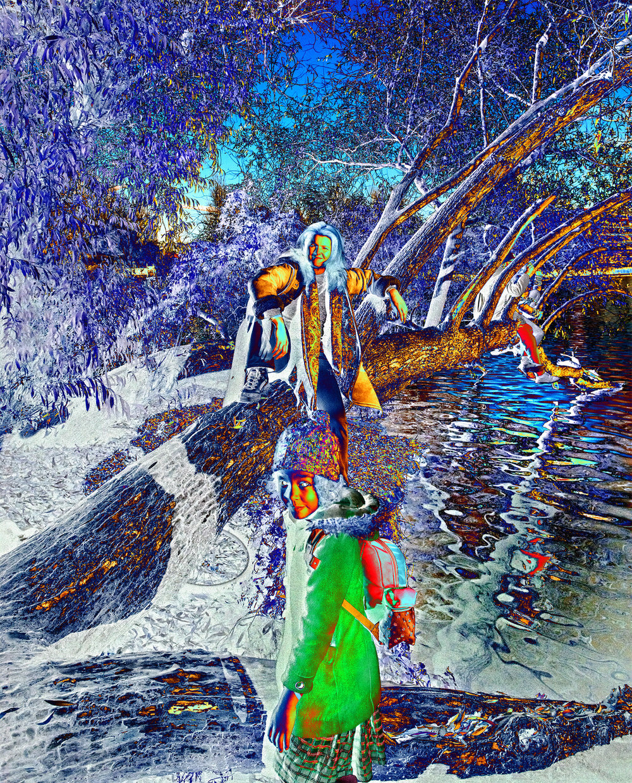 GODsDOGs , ClanChief,  2018, 270 x 217,7 cm, Velum-Tex Samba Backlight, Leuchtstoffröhren, Holz, Karton