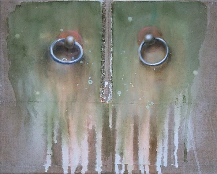 Fides Becker Fensterladenringe (2017) Acryl und Eitempera auf Leinwand 28 x 35 cm