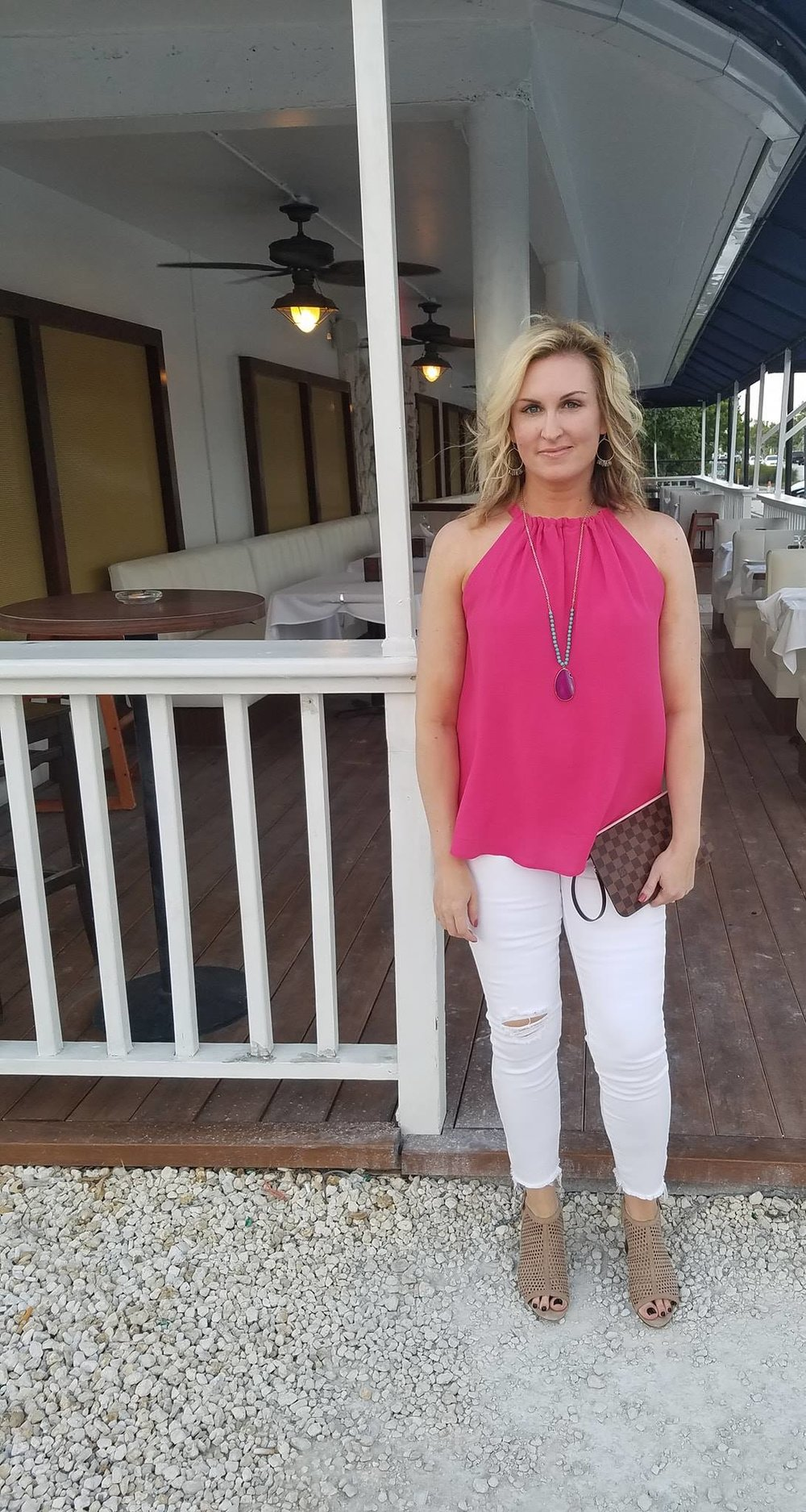 My top is now available in fall colors and fits TTS.  http://shopstyle.it/l/TmJW   Similar white jeans  http://shopstyle.it/l/TmJ2   Shoes (TTS)  http://shopstyle.it/l/TmJ8   Similar necklace  http://shopstyle.it/l/TmKz   SImilar necklace  http://shopstyle.it/l/TmJL   Similar necklace  http://shopstyle.it/l/TmKP