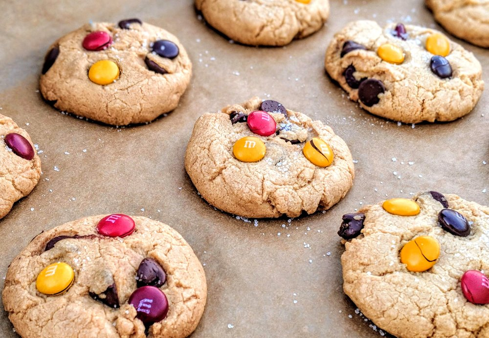 Salted M&M CBD Chocolate Chip Cookies using Medterra's CBD-isolate tincture