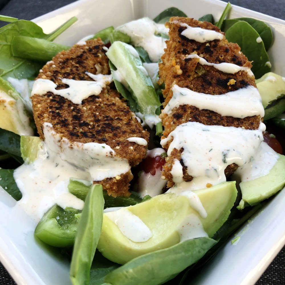 Qrunch Buffalo Burger Salad -
