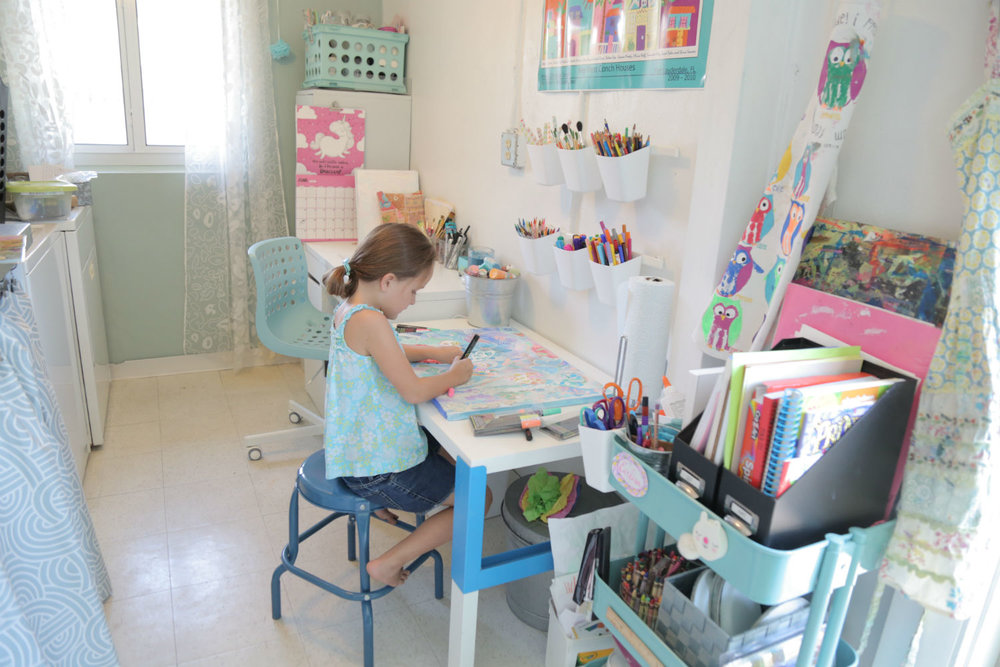 Kids Art Space In Laundry Room
