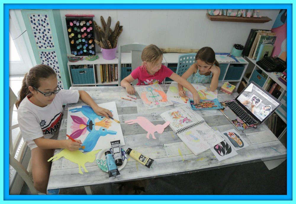 Mixed age-group of young artists doing the Arctic Wonders online art course for kids by Project Artwork at Home.