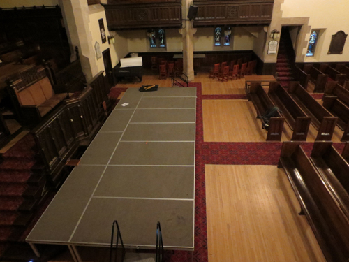 Stage setup in the sanctuary
