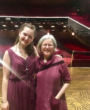 Tonya Ingerson, 2018 College Green Captain Prize Winner, backstage with Elizabeth Cohen of  The Lion King