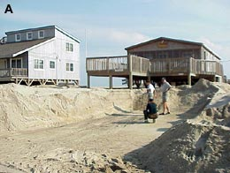 Wave overwash covered the road with sand over 1 m thick. Afterwards, road crews removed the sand bulldozers. USCG https://coastal.er.usgs.gov/hurricanes/dennis1999/rodanthe/