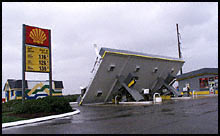 A Nags Head, N.C., gas station succumbed to Hurricane Dennis' winds. (The Washington Post)
