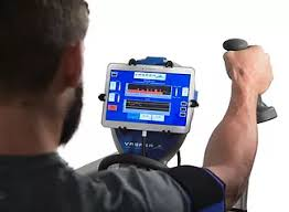 Customizable Software - Each Vasper protocol is a 21-minute interval training protocol, delivered on a tablet fully integrated with the recumbent bicycle. Interval training involves a warmup period followed by a succession of sprint and rest intervals, scientifically proven to increase the efficiency of an exercise session. Each section of the interval training protocol is fully customizable, allowing for adjustments in duration, intensity, resistance, and speed. The pressure and cooling can also be modified for ability, comfort level, and performance. Heart rate monitors and a graph of power output is displayed on screen to track performance. Session metrics are also displayed at the end of the workout and can be emailed directly from the tablet.