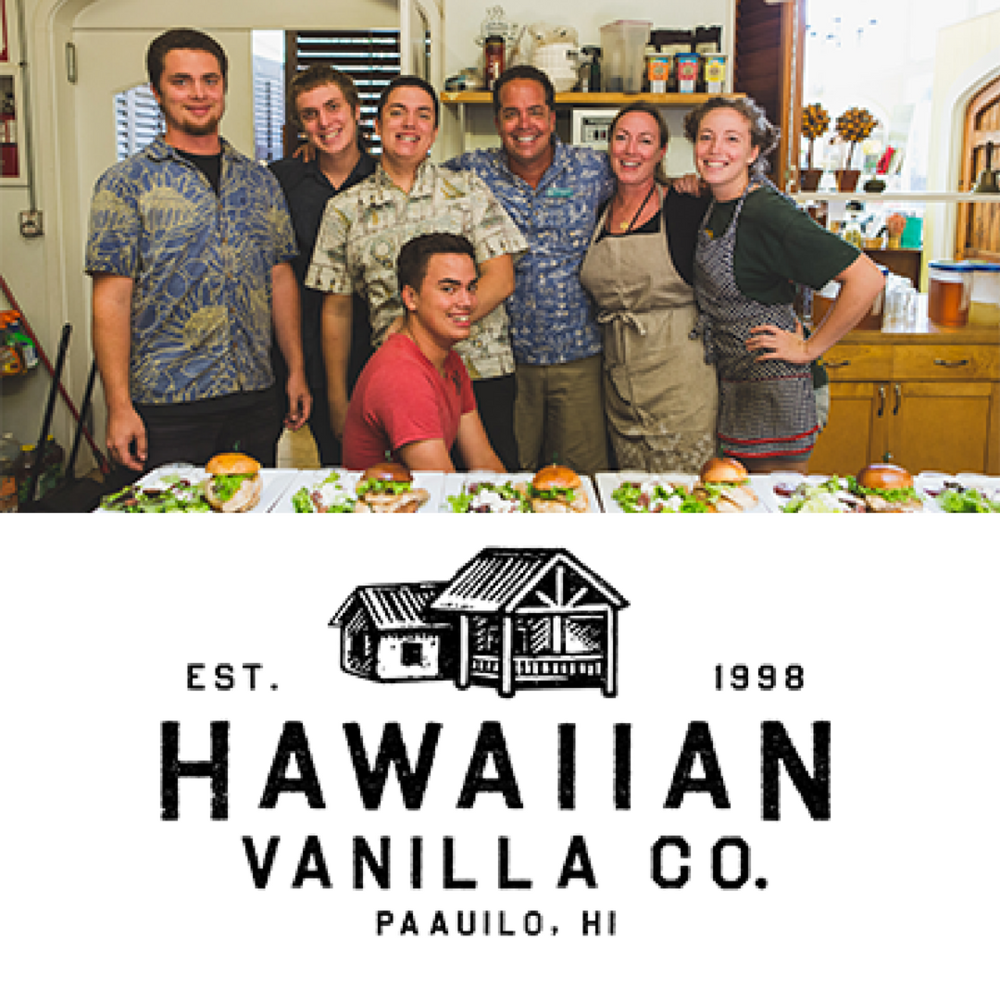 Hawaiian Vanilla Co    Based on Hawaii Island, Hawaiian Vanilla Co. is a boutique vanilla farm that creates over 60 different vanilla-infused products and is well known for their beautiful farm tours and lunch experience.   Learn more