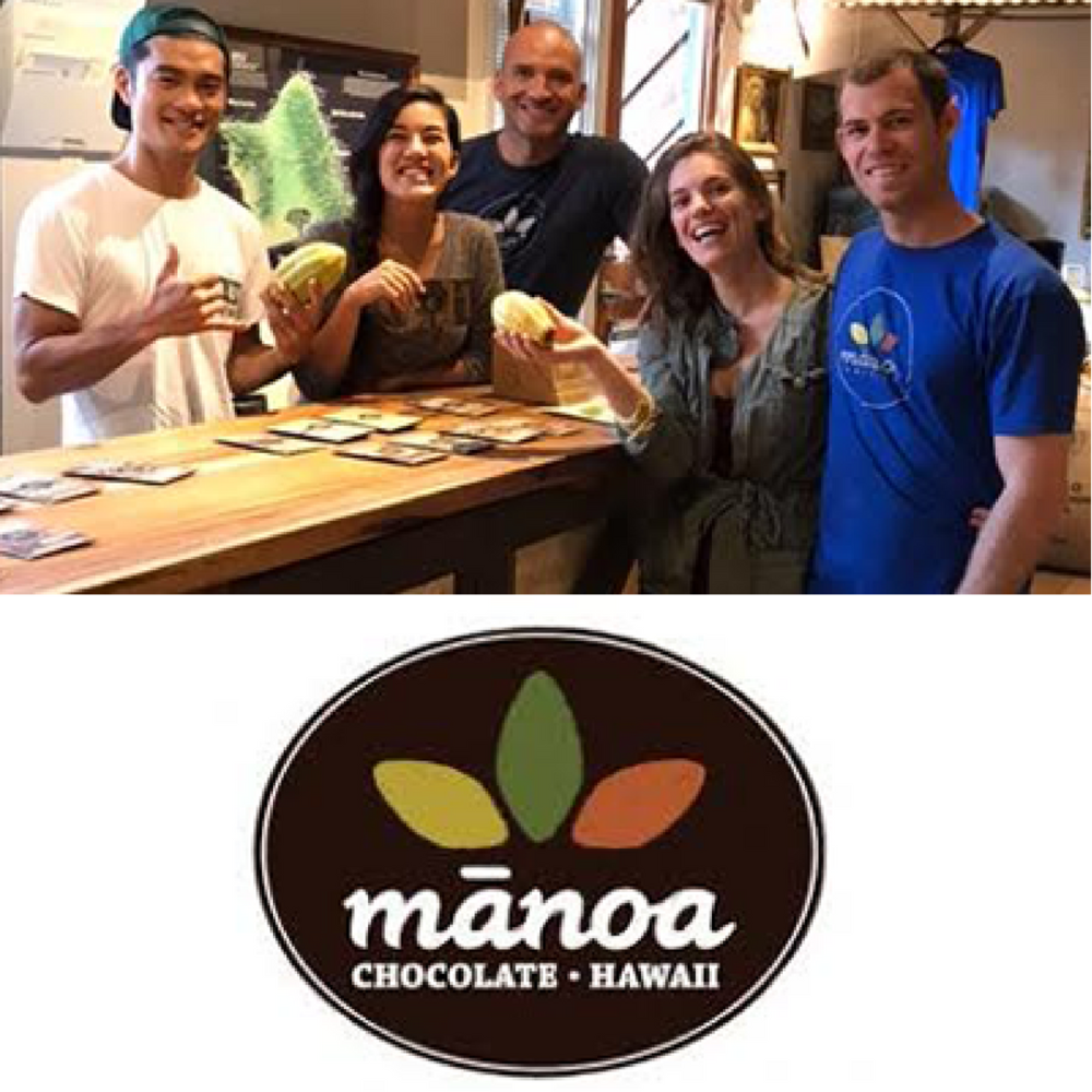 Manoa Chocolate    Based in Kailua, Manoa Chocolate Hawaii is a world-renowned bean-to-bar chocolate factory. Through direct trade of single origin cacao from around the world and across the Hawaiian Islands, Manoa Chocolate showcases the unique qualities of each region they source from.   Learn more