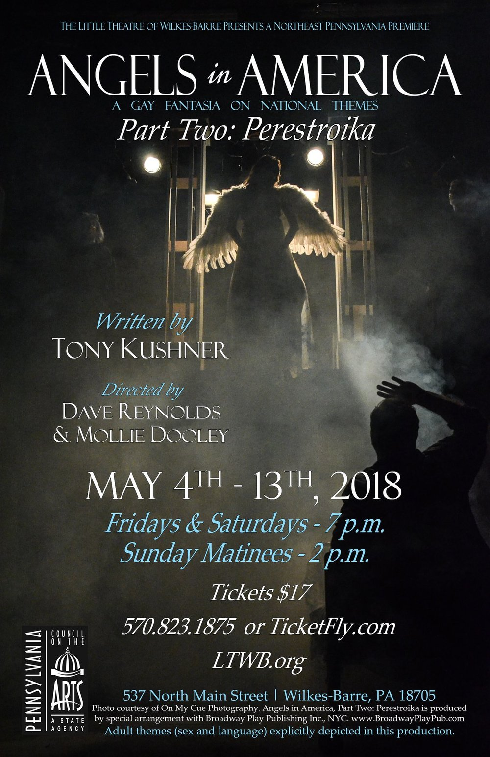 Angels in America: Perestroika - Little Theatre of Wilkes-Barre, Wilkes-Barre, PAPlaywright: Tony KushnerDirectors: Dave Reynolds & Mollie DooleyLighting Designer: Jonathan VojtkoScenic Designer:Steph BurkeCostume Designer:Autumn J. Galka Photography: On My Cue Photography