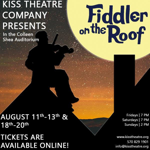 Fiddler on the Roof - Kiss Theatre CO, Wilkes-Barre, PAMusic: Jerry BockLyrics:Sheldon HarnickBook: Joseph SteinDirectors: Dave & Christina ReynoldsLighting Designer: Jonathan VojtkoScenic Designer:Mike WawrzynekCostume Designer: Autumn J. Galka Photography: Megan Milford Photography