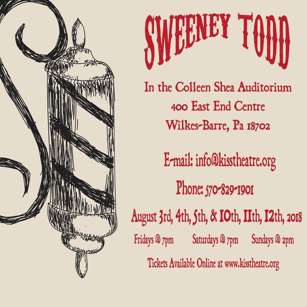 Sweeney Todd: Demon Barber of Fleet Street - Kiss Theatre Co, WILKES-BARRE, PABook: Hugh WheelerMusic & Lyrics: Stephen SondheimDIRECTORS: DAVE REYNOLDS & Skyler MakuchLIGHTING DESIGNER: JONATHAN VOJTKOSCENIC DESIGNER:DAVE rEYNOLDSCOSTUME DESIGNER:AUTUMN J.GALKA