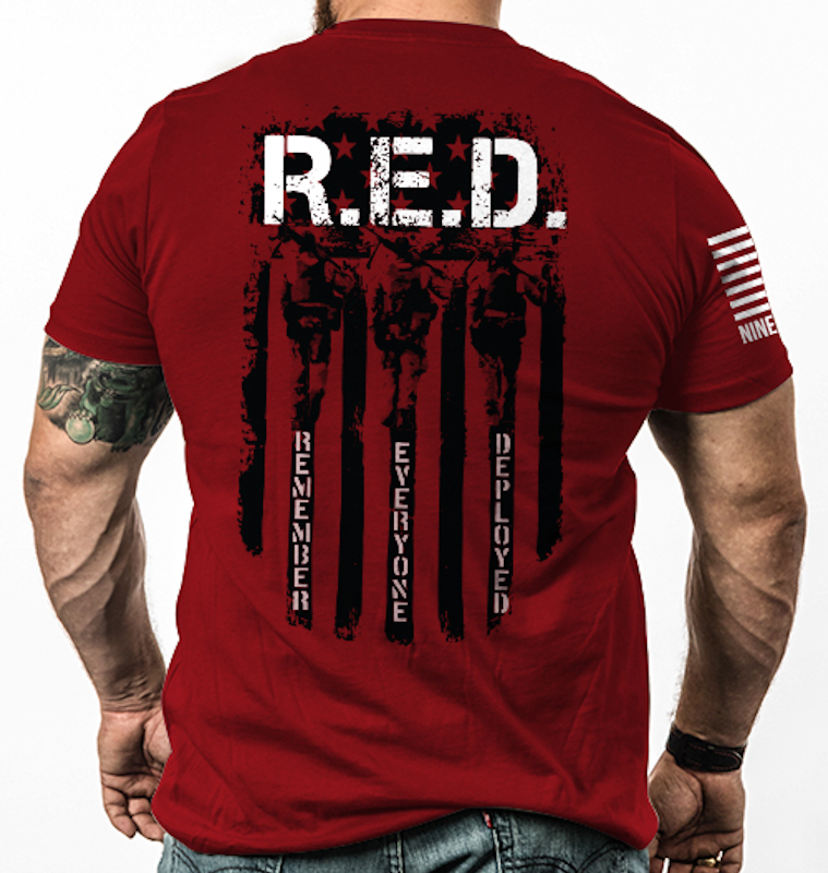 Nine Line Apparel RED Remember Everyone Deployed T-Shirt