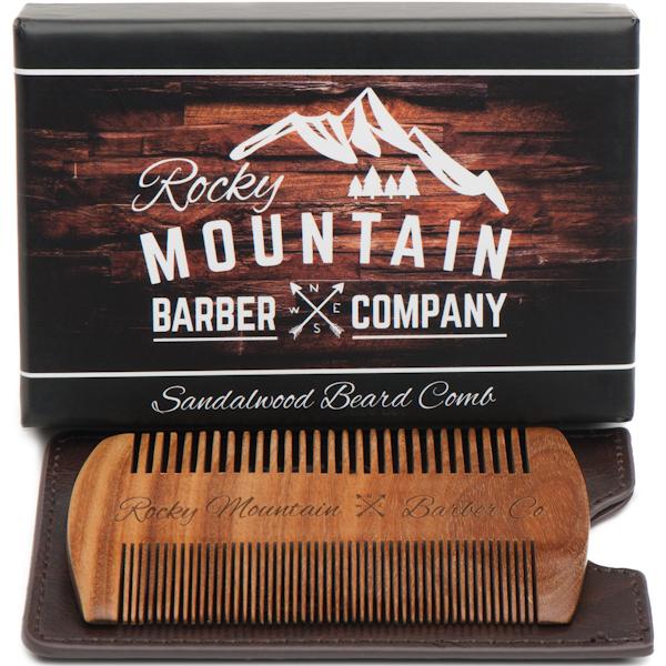 Rocky Mountain Barber Straight Edge Sandalwood Beard Comb