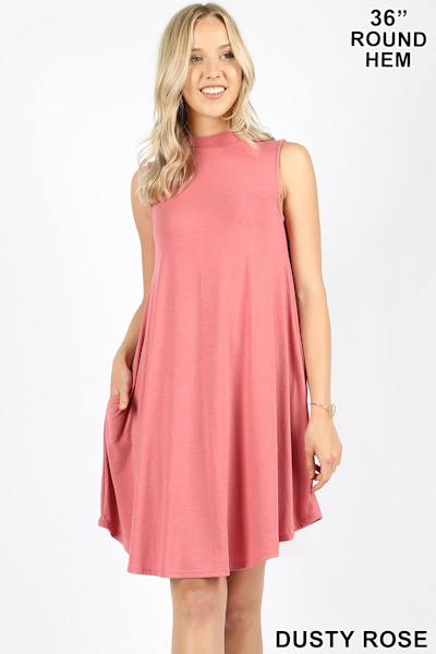 Zenana Premium Mock Dress - Dusty Rose