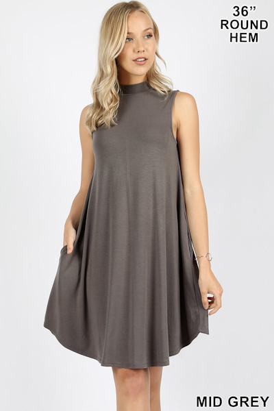 Zenana Premium Mock Dress - Mid Grey
