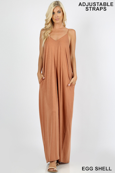 Zenana Premium Fabric V-Neck Cami Maxi Dress with Pockets