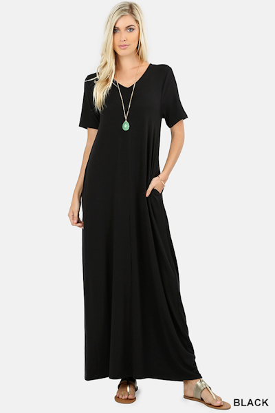 Ezenana Premium Fabric V-Neck Short Sleeve Maxi Dress - Black