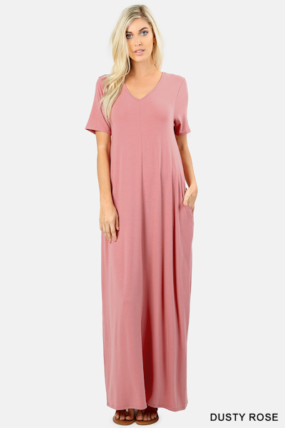 Ezenana Premium Fabric V-Neck Short Sleeve Maxi Dress in Dusty Rose