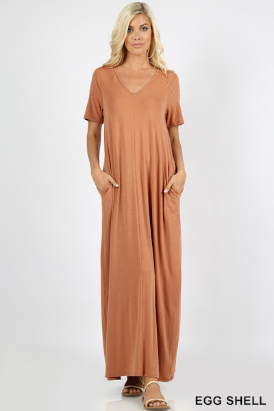 Ezenana Premium Fabric V-Neck Short Sleeve Maxi Dress in Eggshell