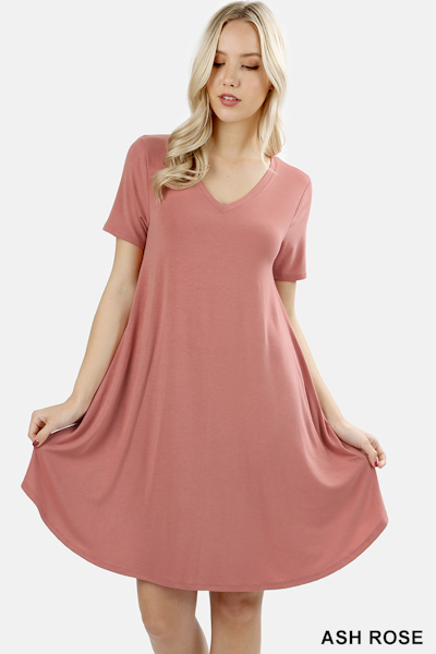 Zenana Premium Fabric V-Neck Short Sleeve Round Hem A-Line Dress - Ash Rose