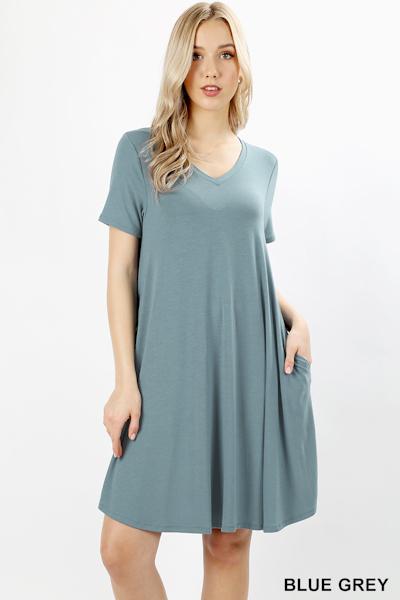 Zenana Premium Fabric V-Neck Short Sleeve Round Hem A-Line Dress with Pockets - Blue Grey