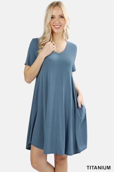 Zenana Premium Fabric V-Neck Short Sleeve Round Hem A-Line Dress with Pockets - Titanium