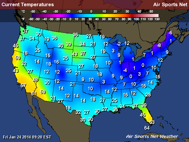 Frigid Temperatures across the country this morning as cold air stretches as far South as Houston Texas