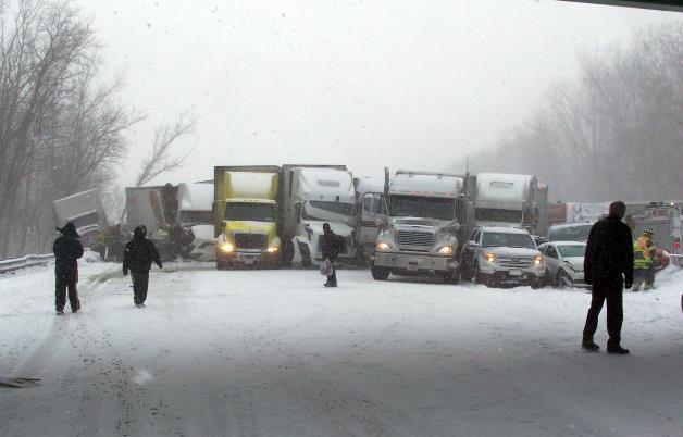 This cell phone image shows a massive highway pileup on Interstate 94 near Michigan City, Ind., Thursday, Jan. 23, 2014, that is being blamed on whiteout conditions.AP Photo: Indiana State Police