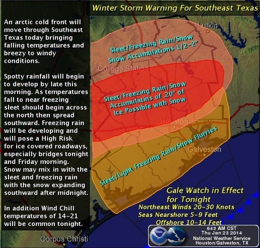 Winter Storm Warnings in place for SE Texas