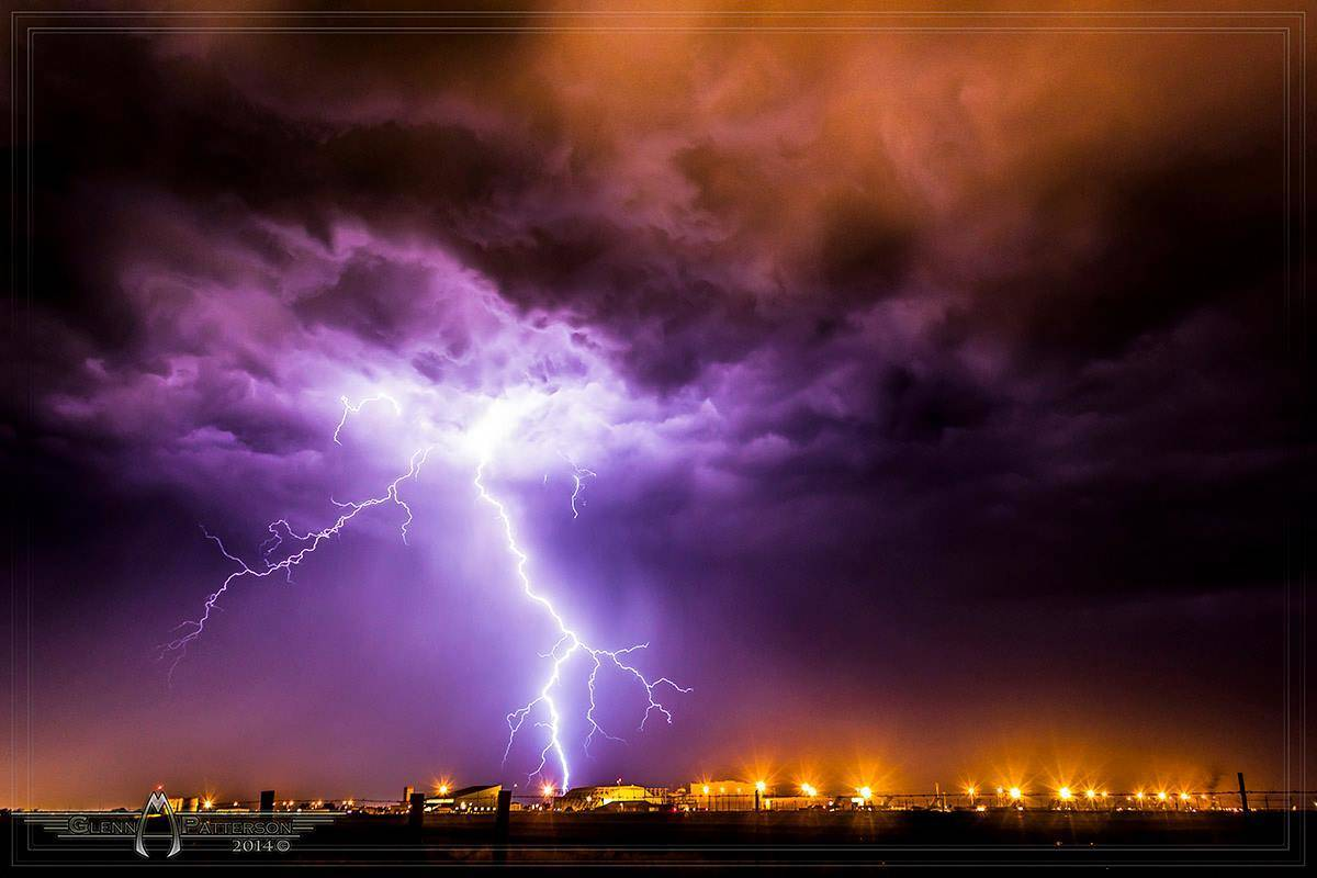 Captured this Gorgeous Bolt on June 14th 2012 over the Altus Air Force Base Oklahoma. It was perfect with the base lights giving the base of the storm a warm orange glow and then the bolt giving the cool blues and purples. Took the shot with a Canon T1i.