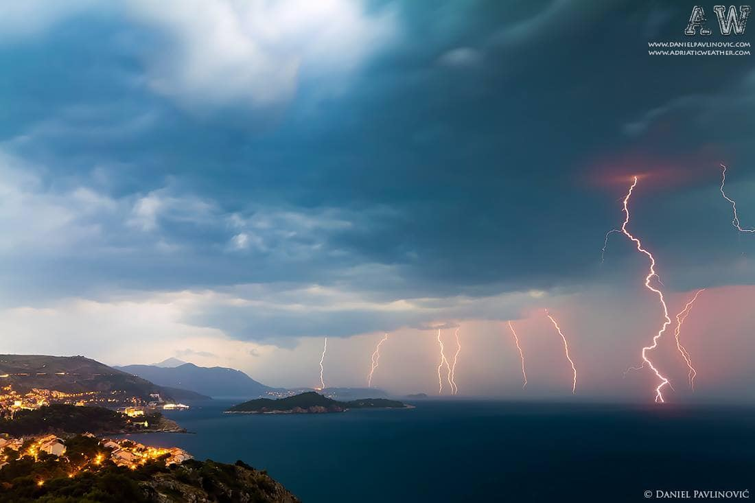 Severe thunderstorm near Dubrovnik, 23.7.2012. (2 photos stacked)