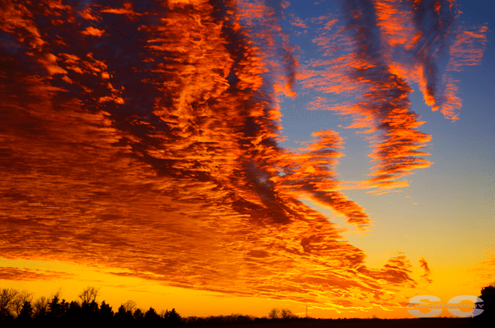 Absolutely amazing colors to a beautiful sunset back on January 26th, 2014 near Stover, Missouri