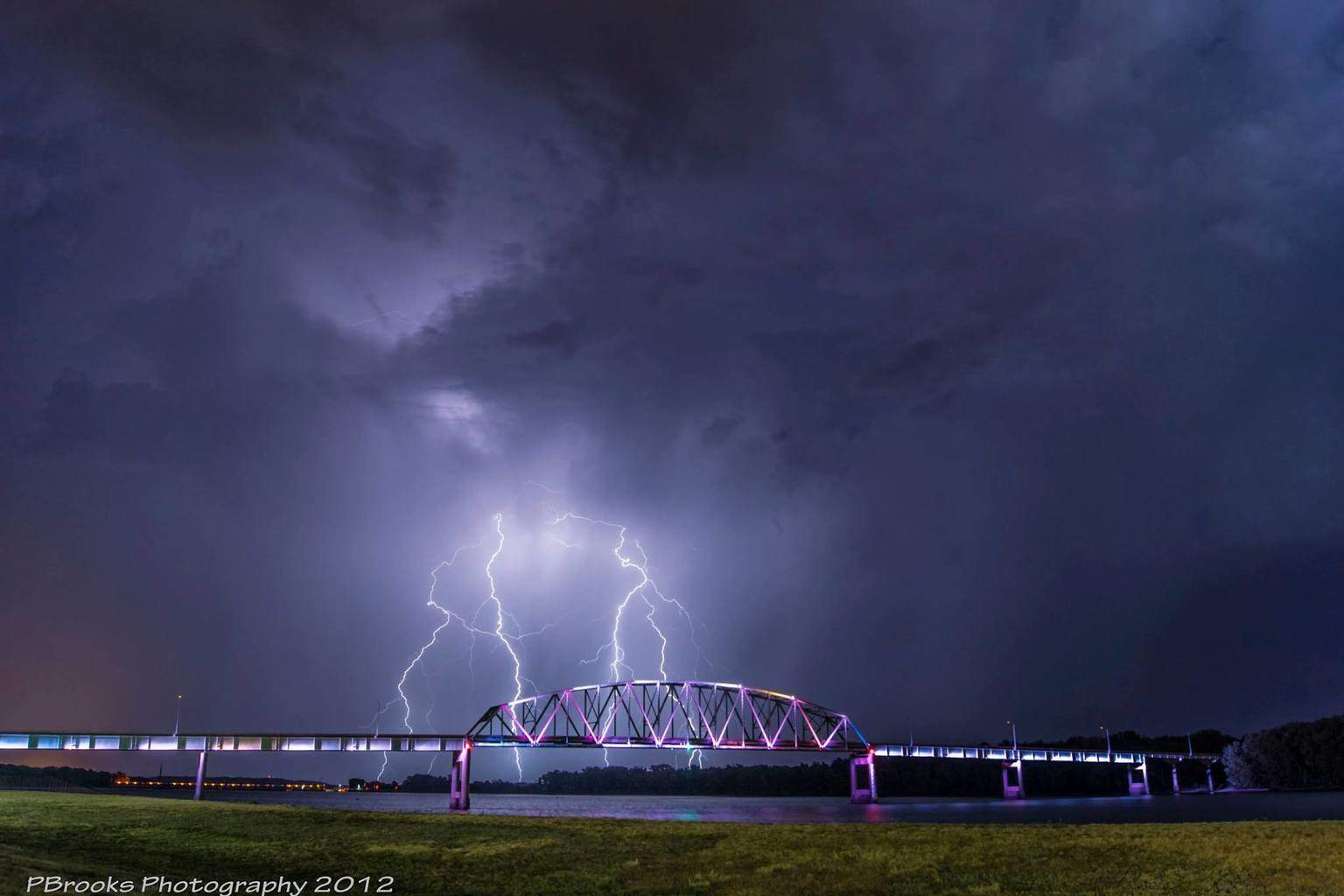 Probably my most liked Lightning Photo. Taken7-18-12 from the Muscatine, Iowa Riverfront. This was a discrete cell that didn't fire completely until after dark. It didn't have much but a typical outflow domination and tons of lightning.