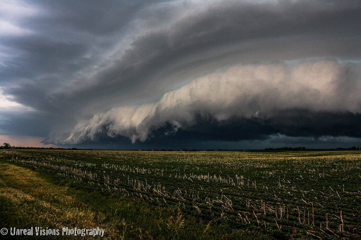 Tornado warned squall line in Northern IL in June 2012. This thing was rather unique I will say, there was little horizontal vorticies on the leading edge that were rolling back into the shelf itself, supposedly pretty rare to see that.