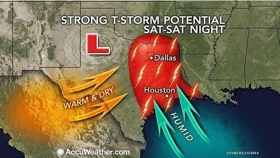 Texas Louisiana Thunderstorms
