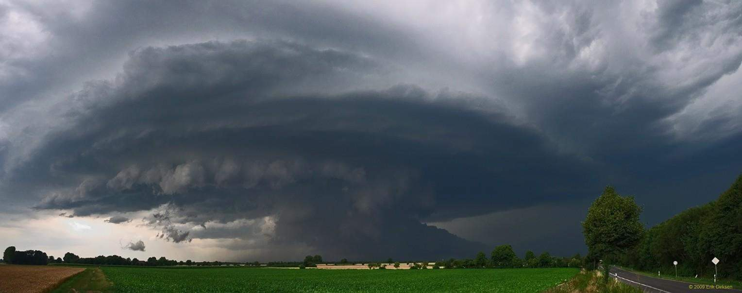 Panorama shot of a classic supercell near Titz, Germany on July, 21st 2009