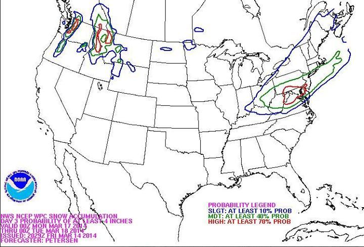 Snow accumulation forecasts for the North East US