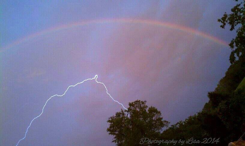 Trying to capture the rainbow & got some lightning. Jackson, MO